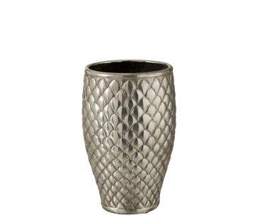 J -Line Vaas Cilinder Hoog Metaal Geruit Zilver - Small