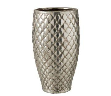 J -Line Vaas Cilinder Hoog Metaal Geruit Zilver - Large