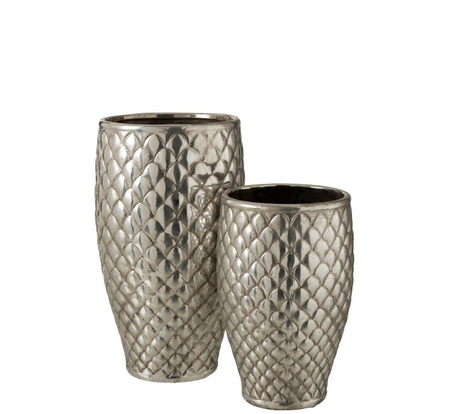 Vaas Cilinder Hoog Metaal Geruit Zilver - Large