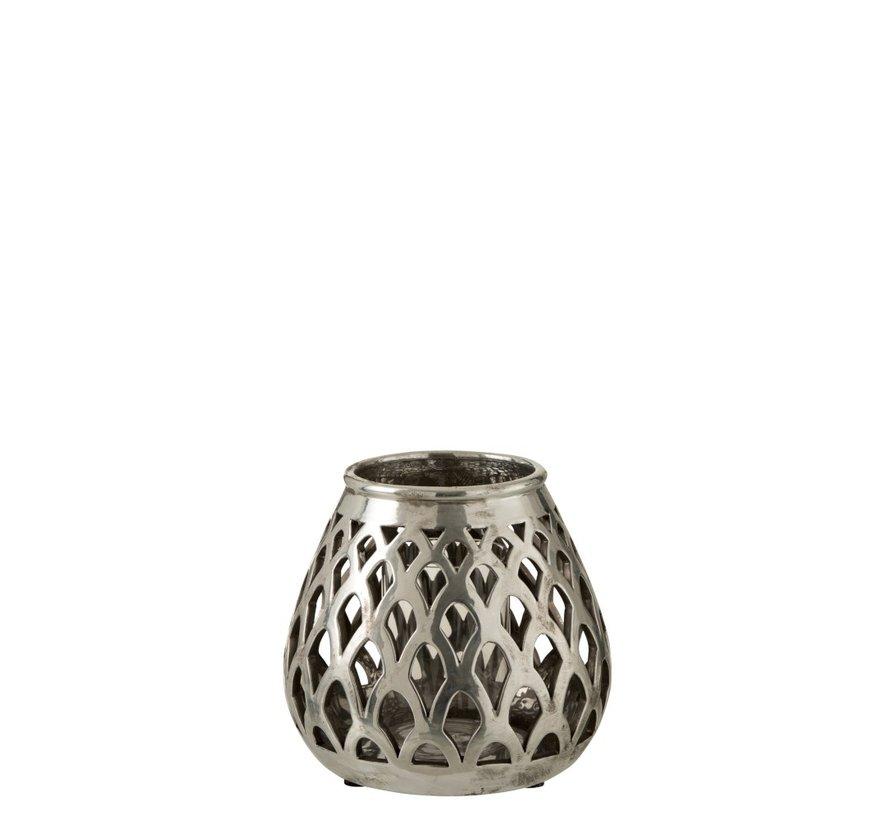 Tealight Holder Glass Drop Metal - Silver