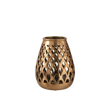 J-Line Tealight Holder Glass Drop Metal - Copper