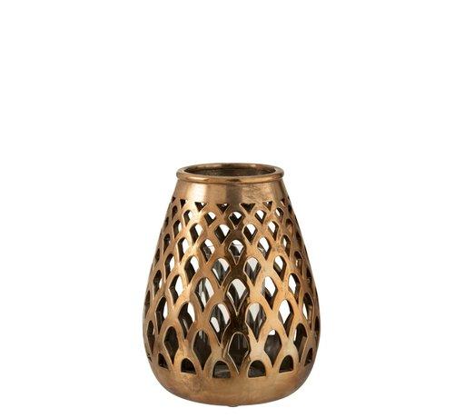J -Line Tealight Holder Glass Drop Metal - Copper