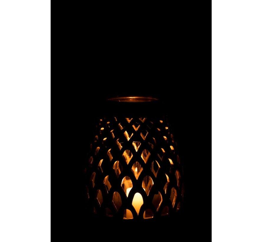 Tealight Holder Glass Drop Metal - Copper