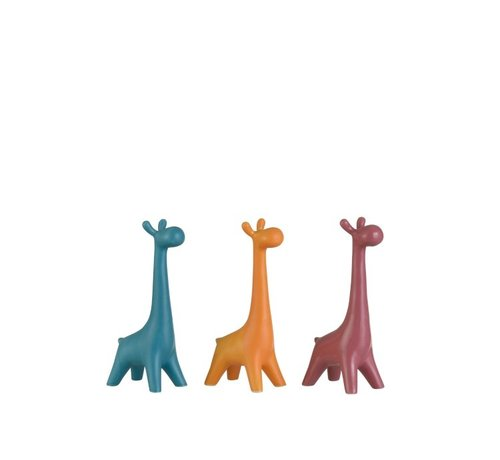 J -Line Decoration Giraffes Porcelain Blue Orange - Pink