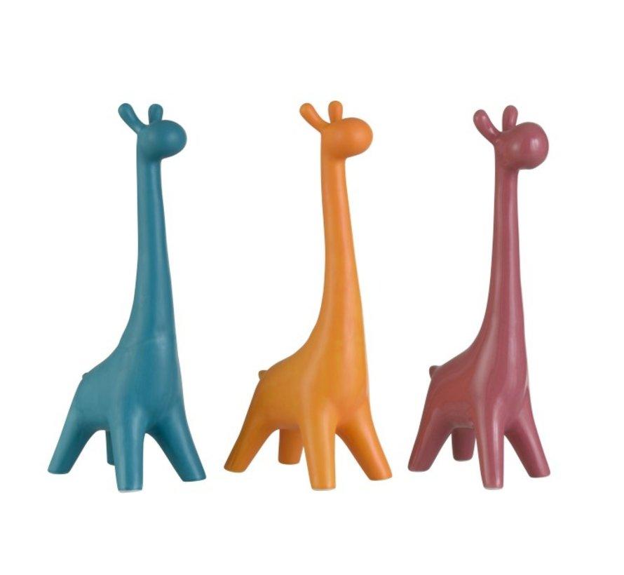 Decoratie Giraffen Porselein Blauw Oranje - Roze