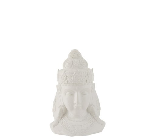 J -Line Decoration Buddha Head Magnesium White - Small