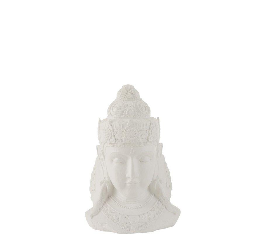 Decoratie Boeddha Hoofd Magnesium Wit - Small