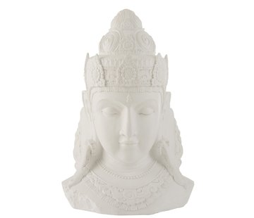 J-Line  Decoratie Boeddha Hoofd Magnesium Wit - Large