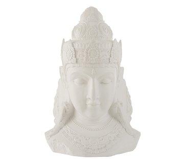 J-Line Decoration Buddha Head Magnesium White - Large