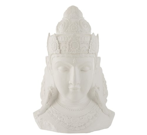 J -Line Decoratie Boeddha Hoofd Magnesium Wit - Large