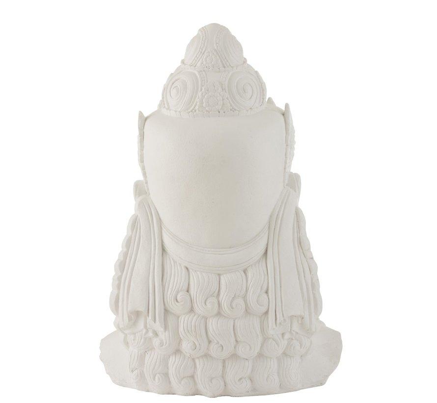 Decoratie Boeddha Hoofd Magnesium Wit - Large