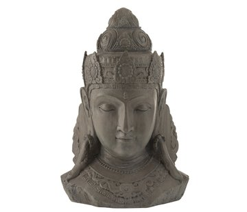 J -Line Decoratie Boeddha Hoofd Magnesium Grijs - Large