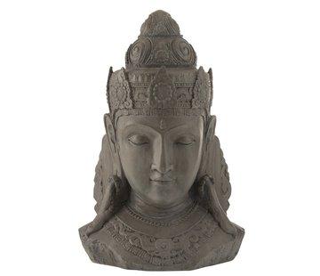 J -Line Decoration Buddha Head Magnesium Gray - Large