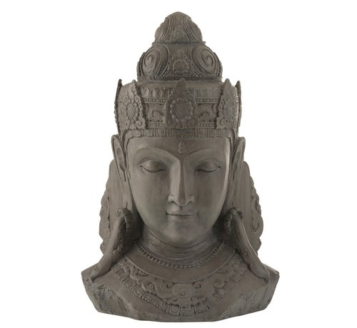 J -Line Decoration Buddha Head Magnesium Gray - Large