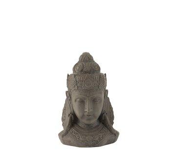 J-Line  Decoratie Boeddha Hoofd Magnesium Grijs - Small