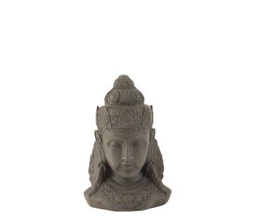 J -Line Decoration Buddha Head Magnesium Gray - Small
