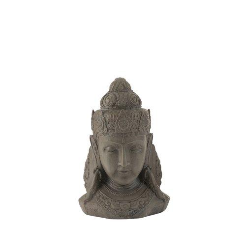 J -Line Decoration Buddha Head Magnesium Gray - Small