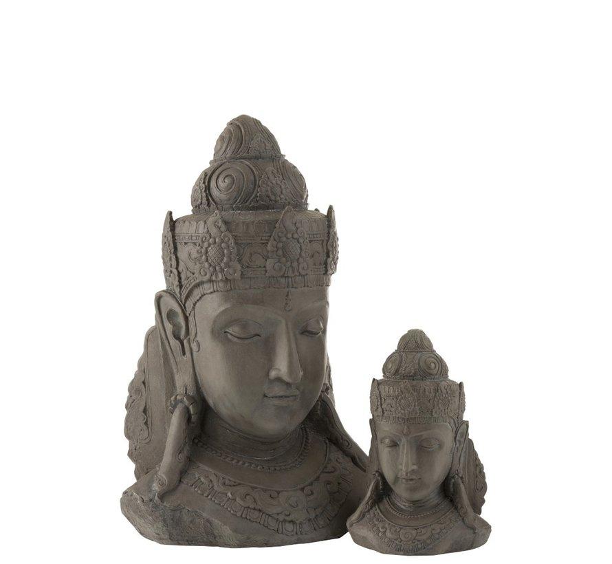 Decoratie Boeddha Hoofd Magnesium Grijs - Small