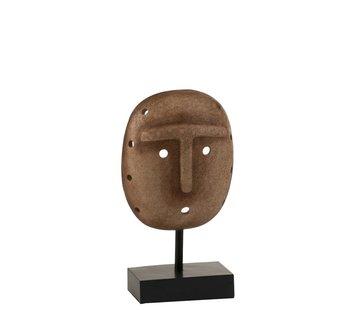 J-Line Decoratie Masker Etnisch Op Voet Poly - Lichtbruin