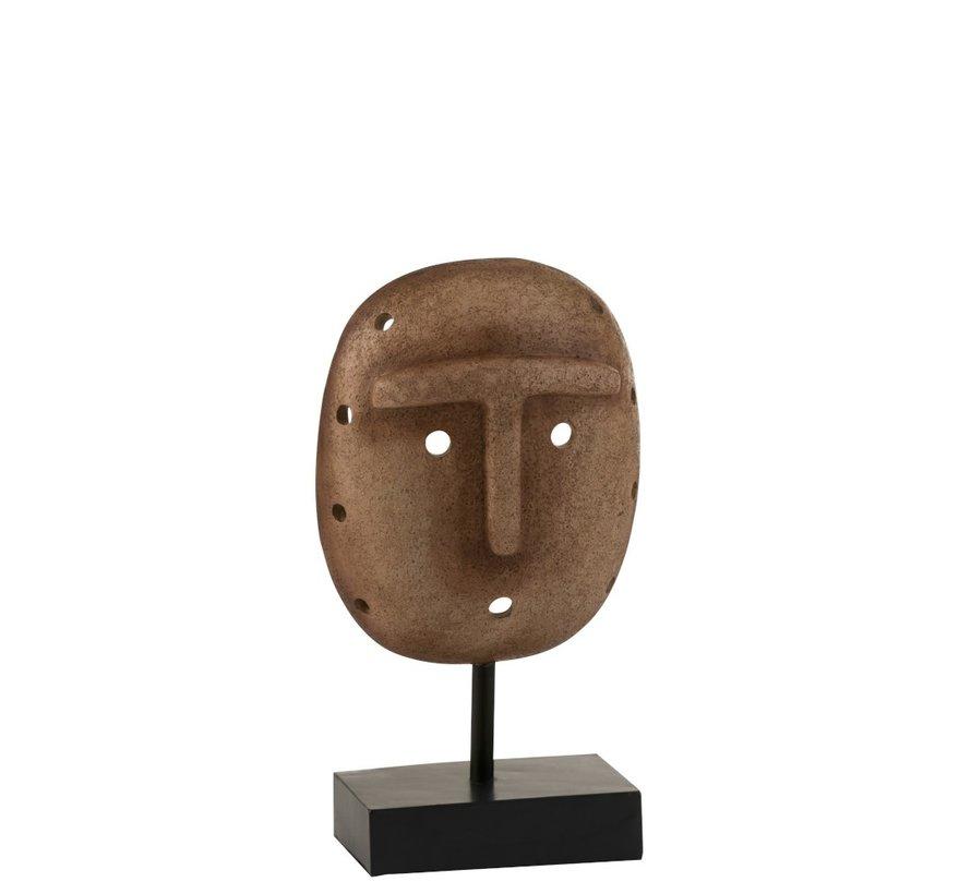 Decoratie Masker Etnisch Op Voet Poly - Lichtbruin