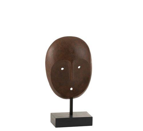 J-Line Decoratie Masker Etnisch Op Voet Poly - Donkerbruin