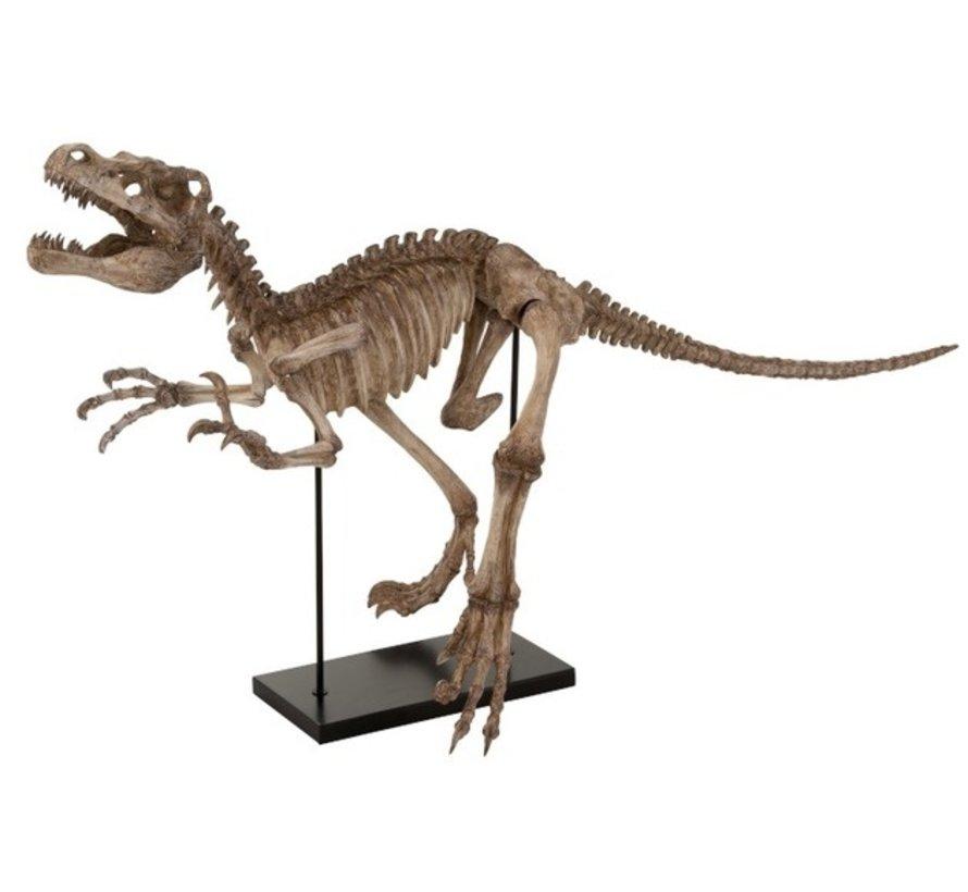 Decoratie Dinosaurus Raptor Op Voet Poly - Lichtbruin