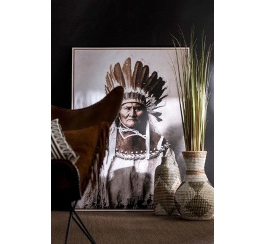 Wall Decoration Frame Canvas Native American Brown - Beige