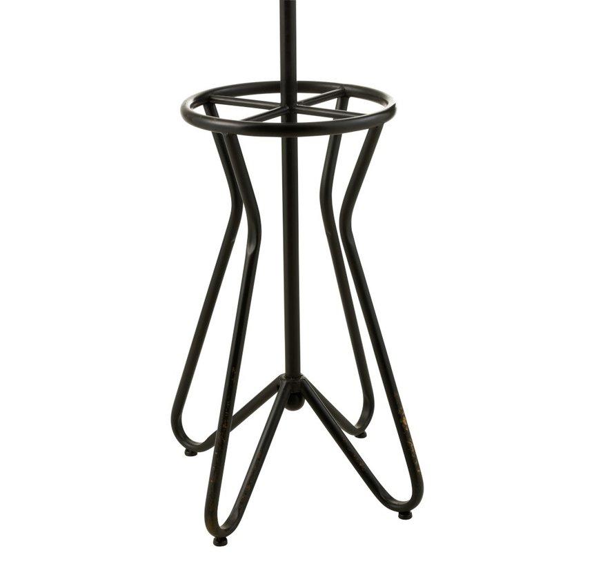 Standing Coat Rack Metal Industrial Curved - Black