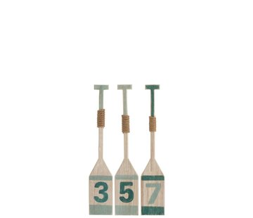 J-Line Decoration Oars Wood Blue Green White - Small