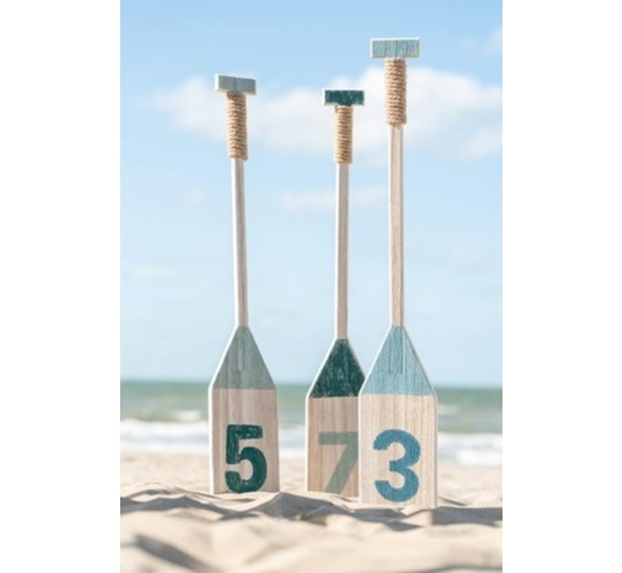 Decoration Oars Wood Blue Green White - Large