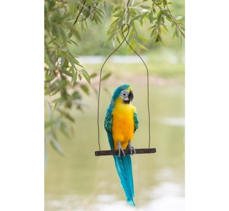 Decoration Parrots On Stick Green Red - Blue