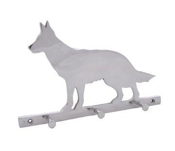 J-Line Wand kapstok Hond Aluminium Drie haken Gestreept - Zilver