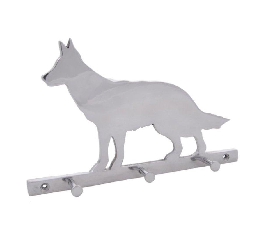 Wand kapstok Hond Aluminium Drie haken Gestreept - Zilver
