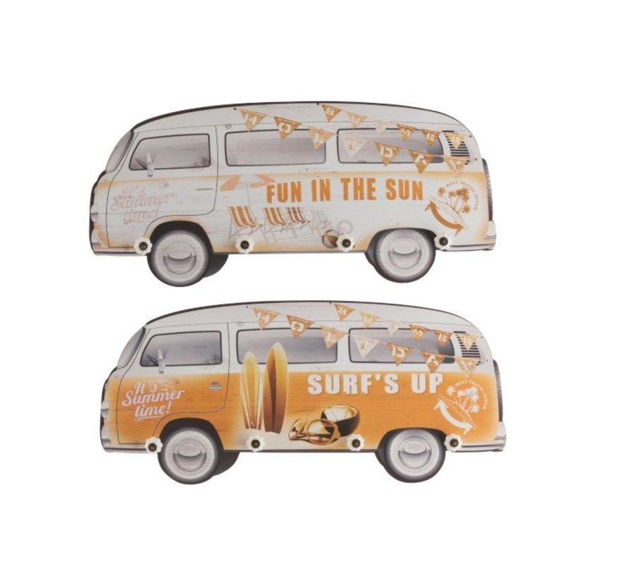 Wand Kapstokken Minibussen Hout Geel Wit - Mix