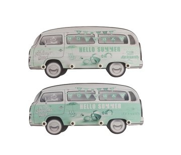 J -Line Wand Kapstokken Minibussen Hout Groen Wit - Mix