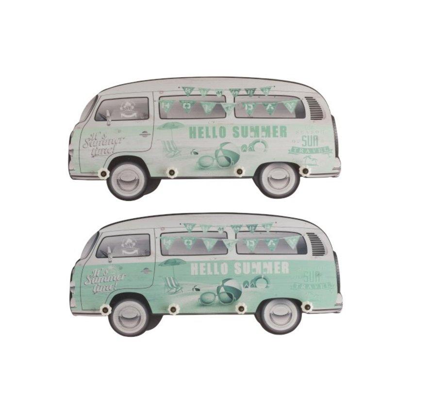 Wand Kapstokken Minibussen Hout Groen Wit - Mix