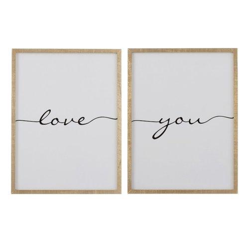 J -Line Wanddecoratie kader Rechthoek Love You Bruin - Zwart
