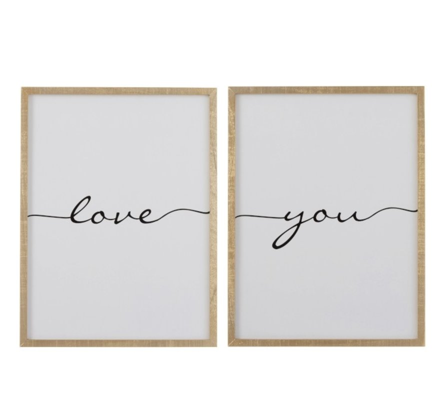 Wall decoration frame Rectangle Love You Brown - Black