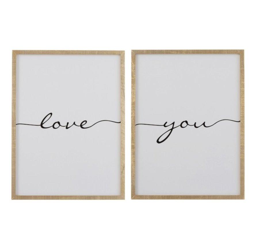 Wanddecoratie kader Rechthoek Love You Bruin - Zwart