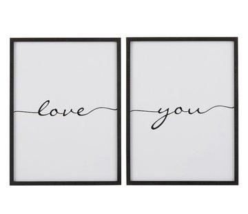 J -Line Wall decoration frame Rectangle Love You - Black
