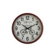 J -Line Wall Clock Round Metal Bicycle Red - Brown