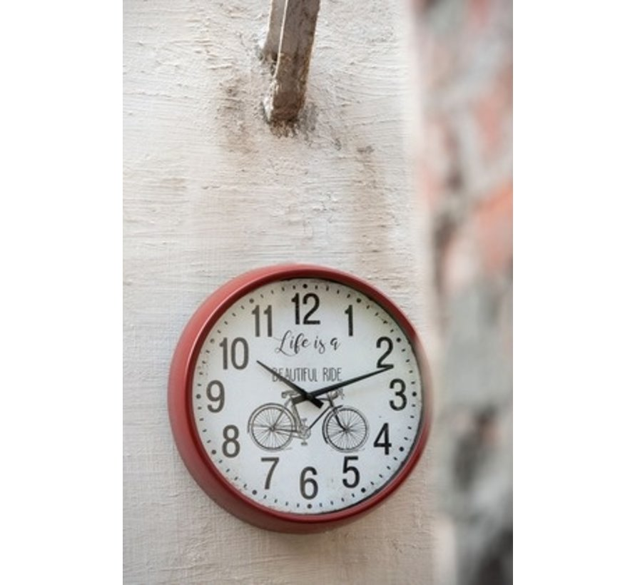 Wall Clock Round Metal Bicycle Red - Brown