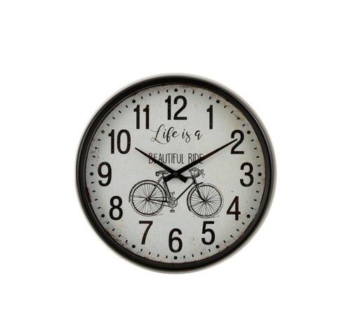 J -Line Wall Clock Round Metal Bicycle White - Black