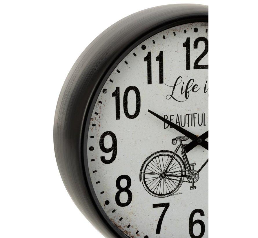 Wall Clock Round Metal Bicycle White - Black