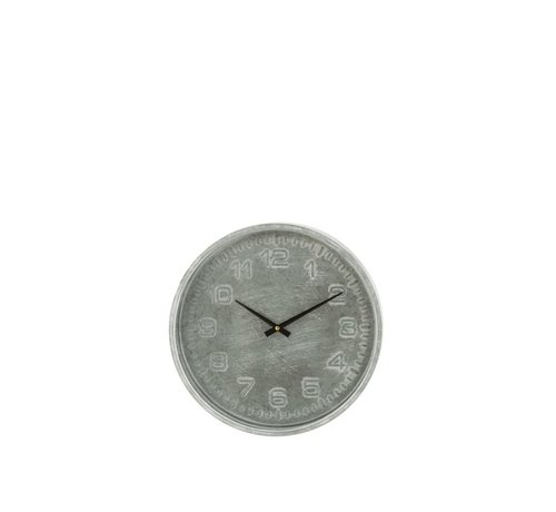 J -Line Wall Clock Round Rustic Metal Gray - Black