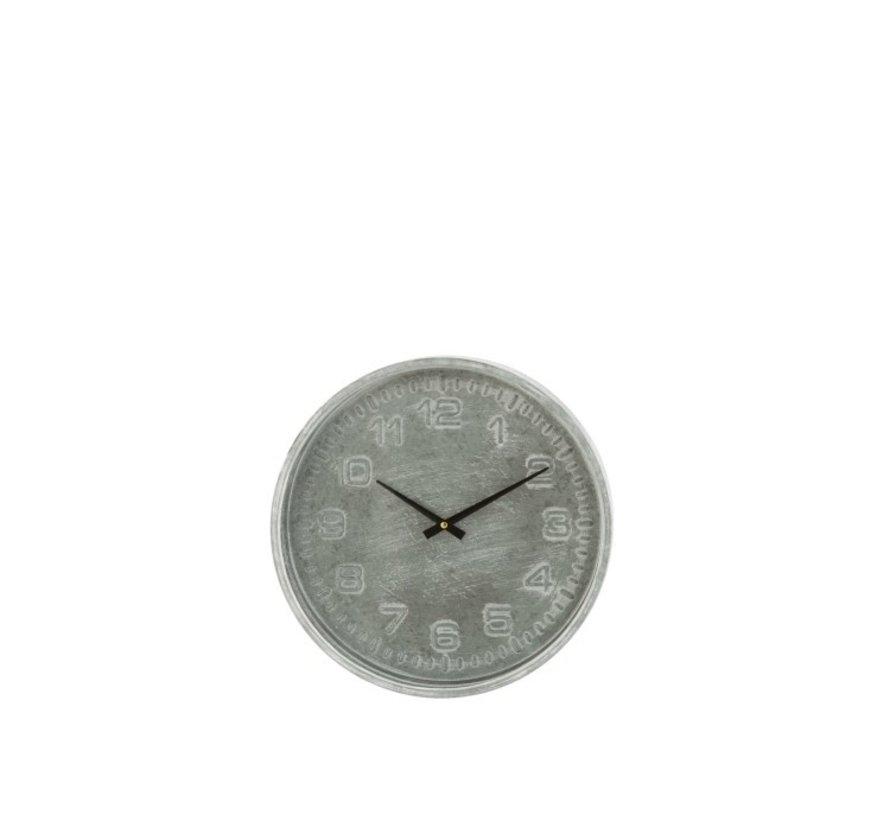 Wall Clock Round Rustic Metal Gray - Black