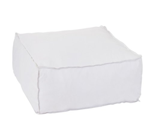 J -Line Pouf Square Soft Polyester Plain - White
