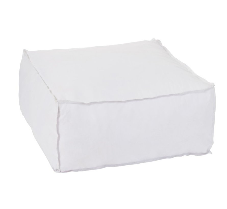 Pouf Square Soft Polyester Plain - White
