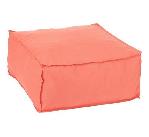 J-Line Pouf Square Soft Polyester Plain - Orange