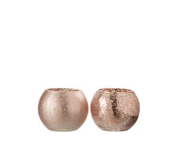 J-Line Tealight Holder Glass Ball Crackle Matt Shiny Pink - Small